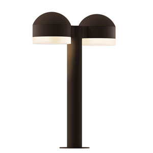 Inside-Out REALS Textured Bronze 16-Inch LED Double Bollard with Cylinder Lens and Dome Cap with Frosted White Lens