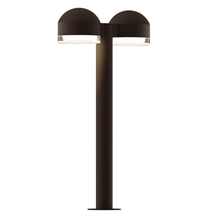 Inside-Out REALS Textured Bronze 22-Inch LED Double Bollard with Cylinder Lens and Dome Cap with Clear Lens