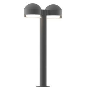 Inside-Out REALS Textured Gray 22-Inch LED Double Bollard with Cylinder Lens and Dome Cap with Clear Lens