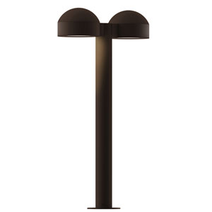 Inside-Out REALS Textured Bronze 22-Inch LED Double Bollard with Plate Lens and Dome Cap with Frosted White Lens