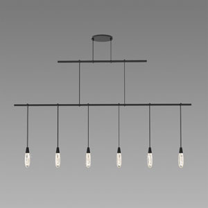 Suspenders LED Satin Black 2-Bar 6-Light Pendant