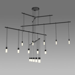 Suspenders LED Satin Black 15-Light Pendant