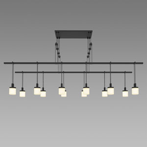 Suspenders LED Satin Black 12-Light Pendant