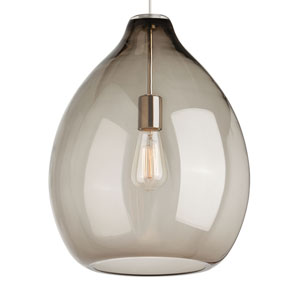 Quinton Black One-Light Pendant with Smoke Shade and Black Stem