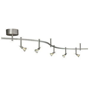 Satin Nickel Five-Light Flexible Rail Track Kit