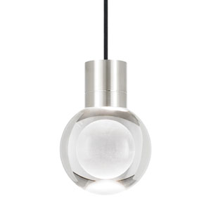 Mina Satin Nickel 2200 Kelvin LED Line-Voltage Mini-Pendant with Black Cord