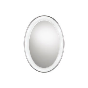 Tigris Satin Nickel Eight-Light Recessed Oval Vanity Mirror