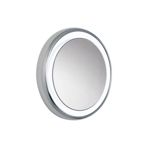 Tigris Satin Nickel Nine-Light Surface Mounted Round Vanity Mirror