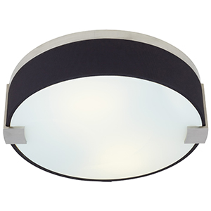Baxter Satin Nickel Two-Light Flush Mount with Black Fabric Shade