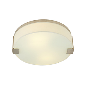 Baxter Satin Nickel Two-Light Flush Mount with Ivory Fabric Shade
