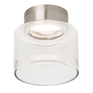 Casen Satin Nickel One-Light LED Flushmount with Clear Shade and Satin Nickel Stem