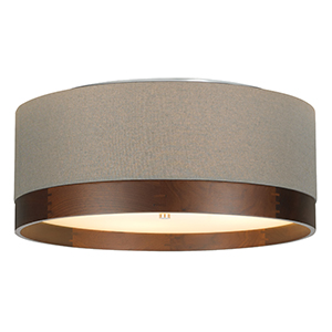 Topo Satin Nickel Four-Light Flush Mount with Heather Gray Shade and Walnut Wood Trim