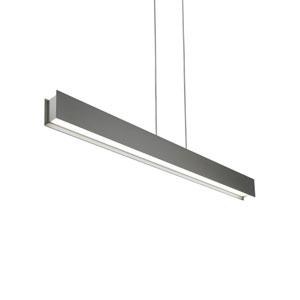Vandor Satin Nickel One-Light LED Pendant with Gray Shade and Satin Nickel Stem