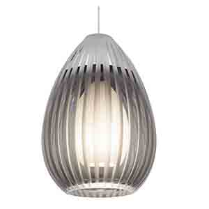 Ava Chrome One-Light Halogen Mini Pendant with Smoke Glass