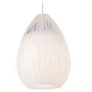 Ava Chrome One-Light Halogen Mini Pendant with White Glass