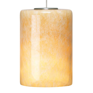Cabo Satin Nickel and Onyx Glass One-Light Low-Voltage Mini-Pendant