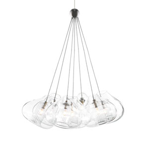 Cheers Satin Nickel Seven-Light Pendant with Clear Shade and Satin Nickel Stem
