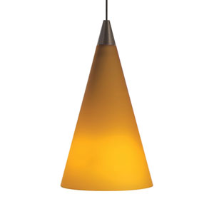 Cone Antique Bronze One-Light LED Mini Pendant with Amber Shade and Antique Bronze Stem