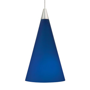 Cone Satin Nickel One-Light LED Mini Pendant with Cobalt Shade and Satin Nickel Stem