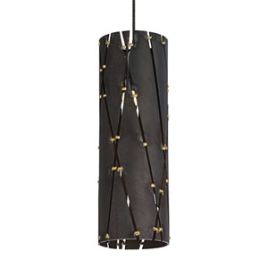 Crossroads Steel One-Light LED Mini Pendant with Steel/Antique Bronze Stem