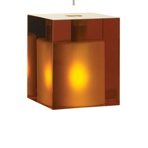 Cube Satin Nickel One-Light Mini Pendant with Amber Shade and Satin Nickel Stem