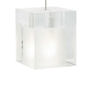 Cube Satin Nickel One-Light Mini Pendant with Frost Shade and Satin Nickel Stem