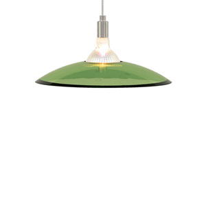 Diz Satin Nickel One-Light Mini Pendant with Olive Green Shade and Satin Nickel Stem