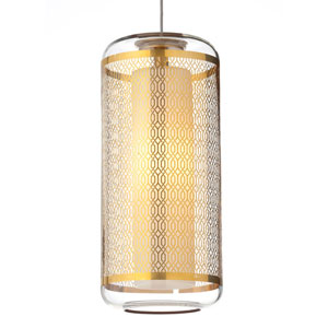 Ecran Polished Gold One-Light Pendant with Clear Lattice Shade and Satin Nickel Stem