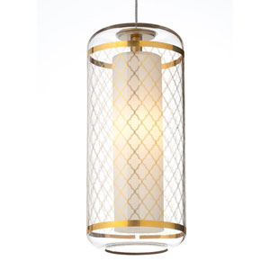 Ecran Polished Gold 3000K LED Pendant with Clear Moroccan Shade and Chrome Stem
