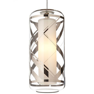 Ecran Polished Platinum 3000K LED Pendant with Clear Plaid Shade and Satin Nickel Stem