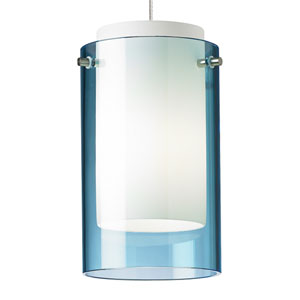 Echo Chrome One-Light LED Mini Pendant with Aquamarine Shade and Chrome Stem