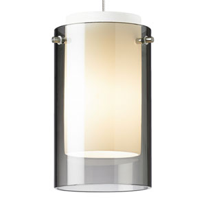 Echo Satin Nickel One-Light LED Mini Pendant with Smoke Shade and Satin Nickel Stem