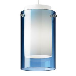 Echo Satin Nickel One-Light Mini Pendant with Steel Blue Shade and Satin Nickel Stem