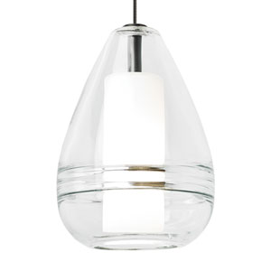 Mini Ella Satin Nickel and Clear Glass One-Light Low-Voltage Mini-Pendant