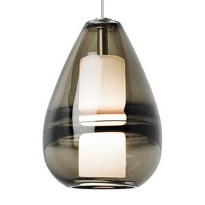 Mini Ella Satin Nickel and Smoke Glass One-Light Low-Voltage Mini-Pendant