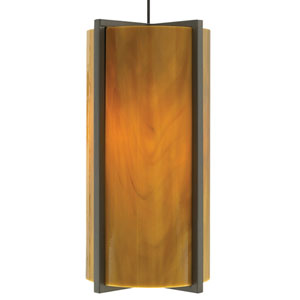 Essex Antique Bronze One-Light Mini Pendant with Beach Amber Shade and Antique Bronze Stem