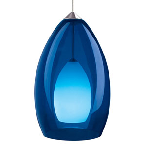 Fire Satin Nickel One-Light Mini Pendant with Cobalt Shade and Satin Nickel Stem