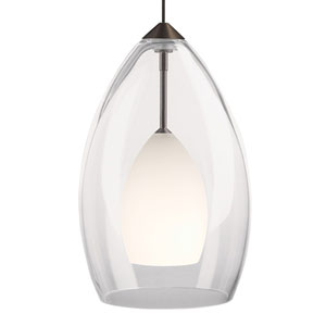 Inner Fire Chrome One-Light Mini Pendant with Frost Shade and Chrome Stem