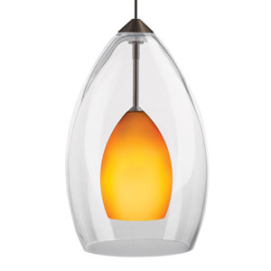 Inner Fire Chrome One-Light Mini Pendant with Amber Shade and Chrome Stem