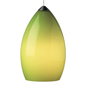 Firefrost Satin Nickel One-Light LED Mini Pendant with Chartreuse Shade and Satin Nickel Stem