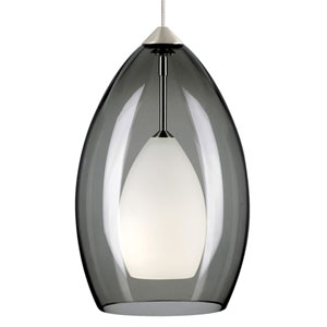 Fire Satin Nickel One-Light Mini Pendant with Smoke Shade and Satin Nickel Stem