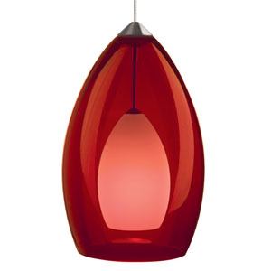 Fire Satin Nickel One-Light Mini Pendant with Red Shade and Satin Nickel Stem