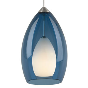 Fire Satin Nickel One-Light Mini Pendant with Steel Blue Shade and Satin Nickel Stem
