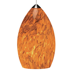 Firefrit Satin Nickel One-Light Mini Pendant with Tahoe Pine Amber Shade and Satin Nickel Stem