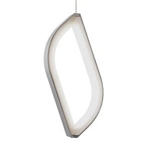 Folium Satin Nickel One-Light LED Mini Pendant with Satin Nickel Shade and Satin Nickel Stem