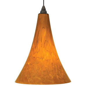 Melrose Antique Bronze One-Light LED Mini Pendant with Tahoe Pine Amber Shade and Antique Bronze Stem