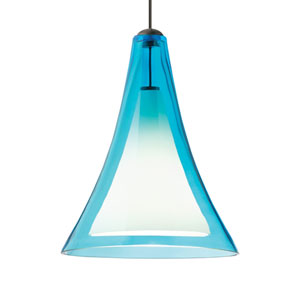 Melrose II Aqua Glass One-Light Low-Voltage Mini-Pendant