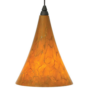 Mini Melrose Antique Bronze One-Light LED Mini Pendant with Tahoe Pine Amber Shade and Antique Bronze Stem