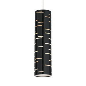 Revel Antique Bronze One-Light LED Mini Pendant with Gloss Black Shade and Antique Bronze Stem