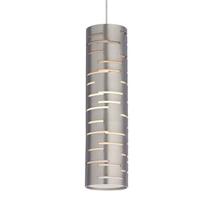 Revel Satin Nickel One-Light LED Mini Pendant with Satin Nickel Shade and Satin Nickel Stem